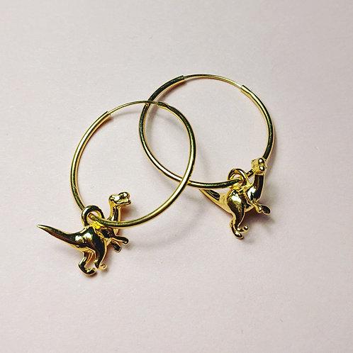 Gold Dinosaur hoop earrings