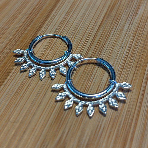 Silver leaf detail hoop earrings