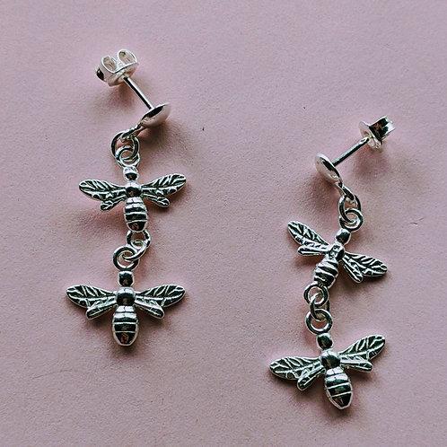 Twin bee drop earrings