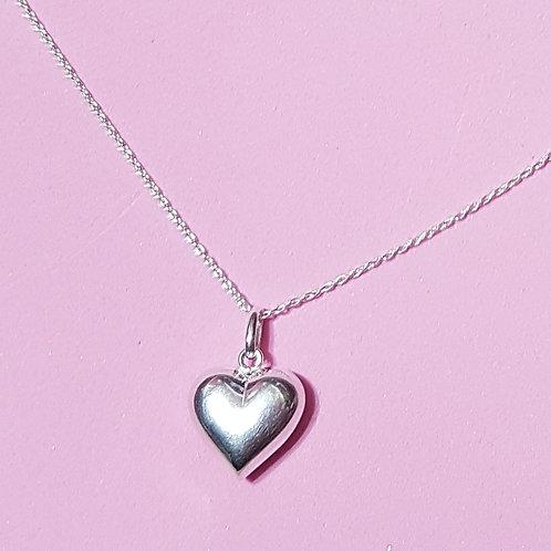 Chubby heart pendant silver