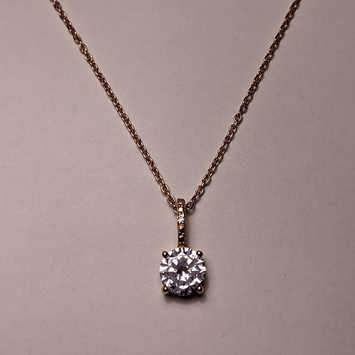 Round CZ pendant rose gold