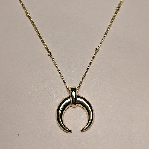 Gold Crescent Moon Tusk Pendant Bead Chain