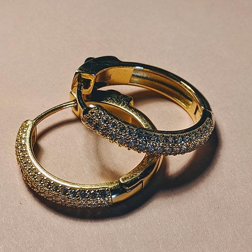Gold Plated Huggie Hoop CZ Earrings