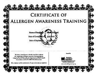 My allergy certificate