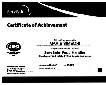 My food handling certificate