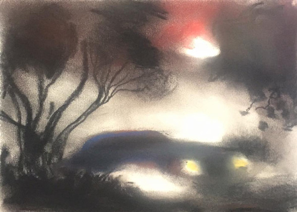 """""""The Car Awaits in the Fog"""" (SOLD)"""