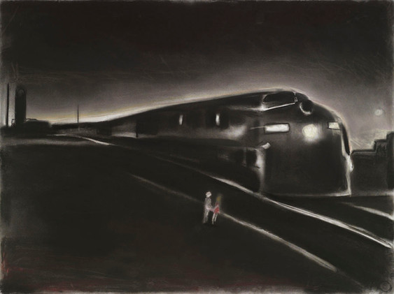 """""""Children at the Train"""" (SOLD)"""