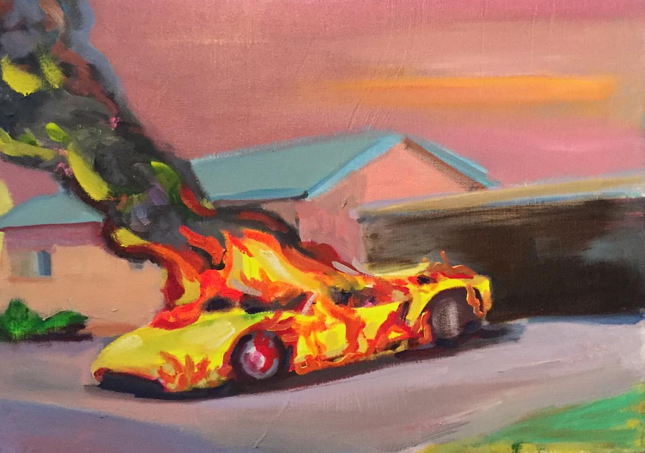 Burning Lambo in Suburbia