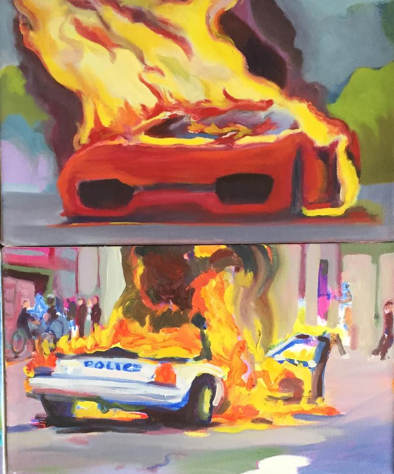 Burning Car Diptych