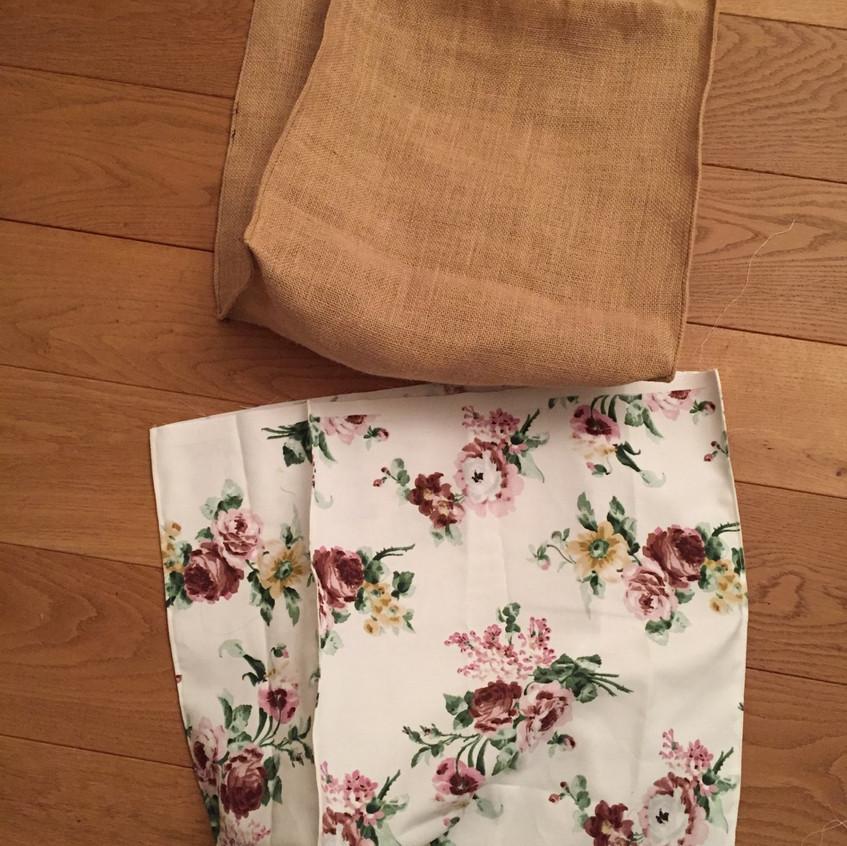 Jute & floral lining bag sewed