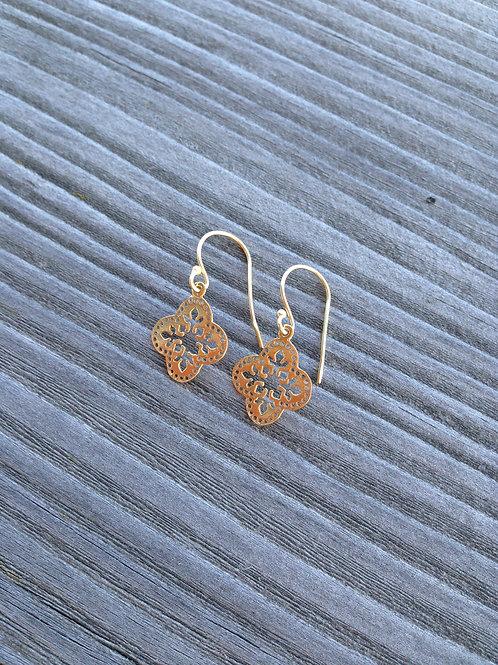 Gold plated jali earrrings