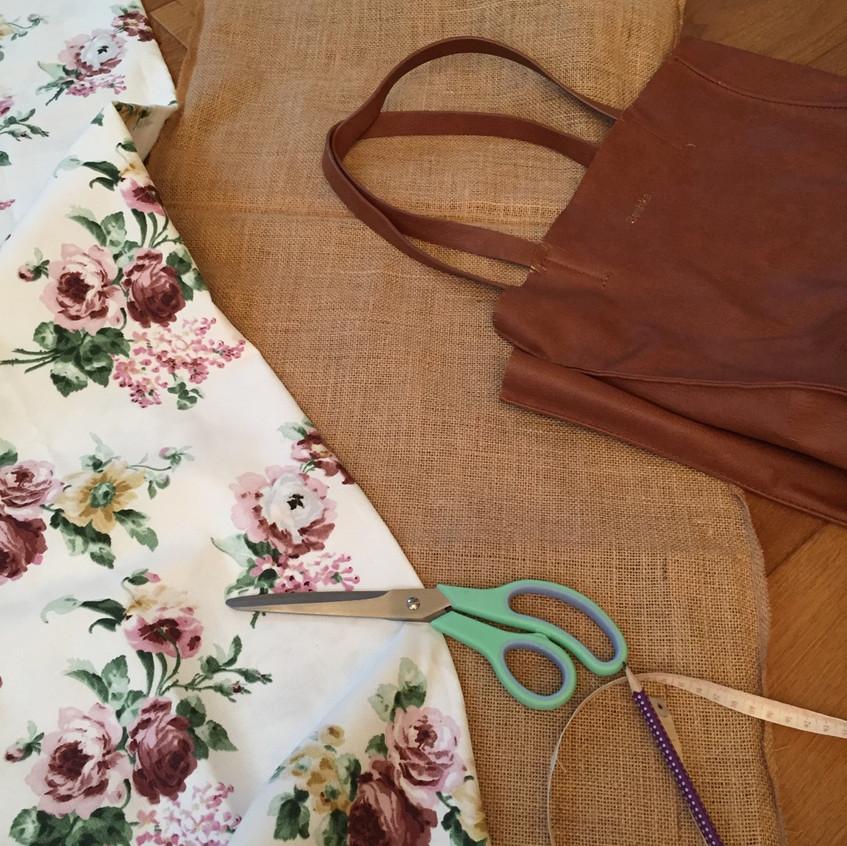 Jute, floral fabric & old Berkshabag
