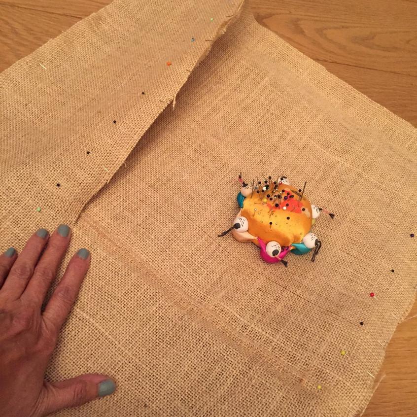 Jute bag pinned to sew