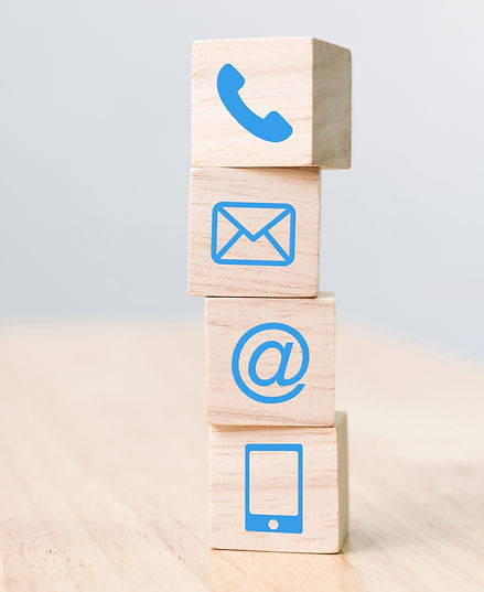 Wood block symbol telephone, mail, address and mobile phone, Website page contact us conce
