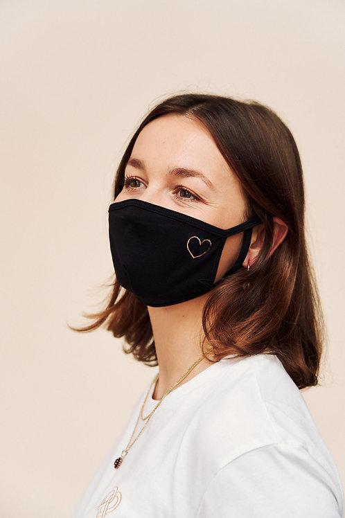 Herz Maske - schwarz