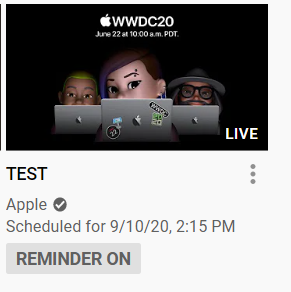 Apple posts a live test video scheduled for September 10th at 2:15PM on youtube