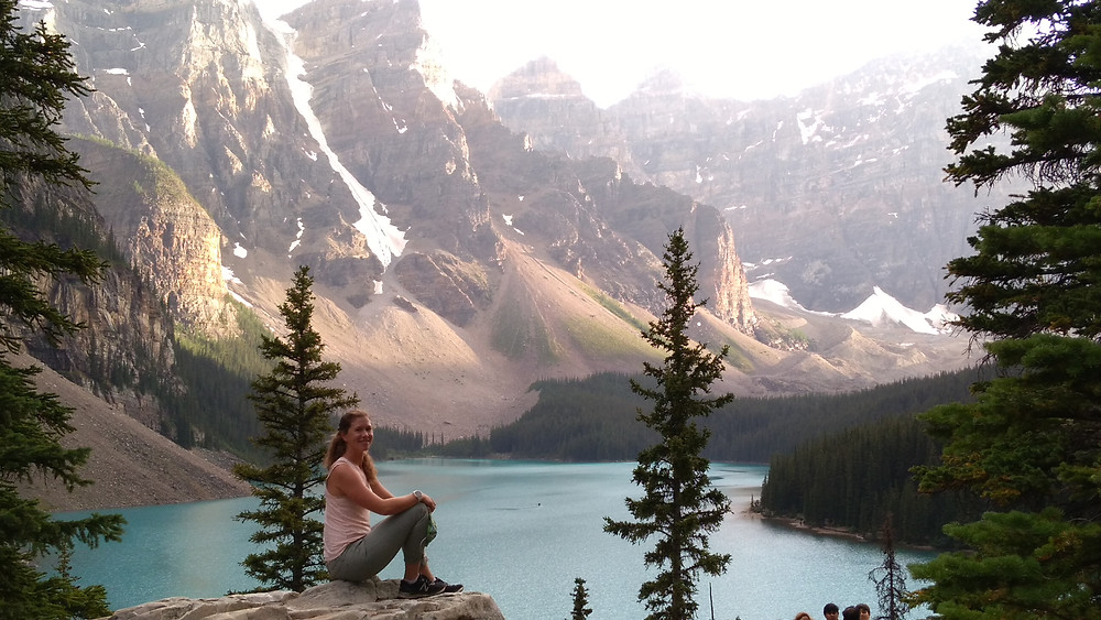 Visiting Moraine Lake before we summit Mount Temple in Lake Louise