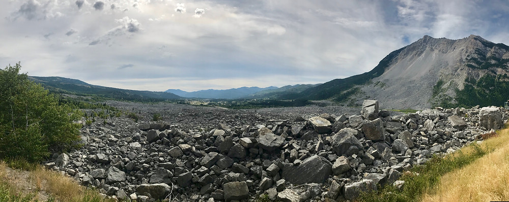 View of Turtle Mountain from Frank Slide Interpretive Center in Crowsnest Pass