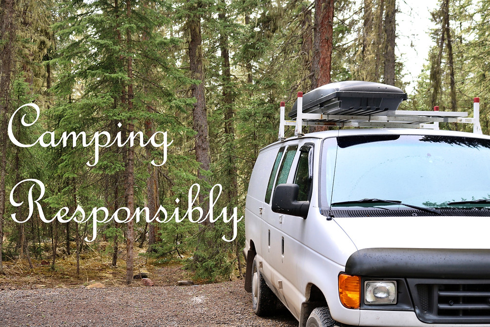 Campervan parked in a campground promoting conservation of parks