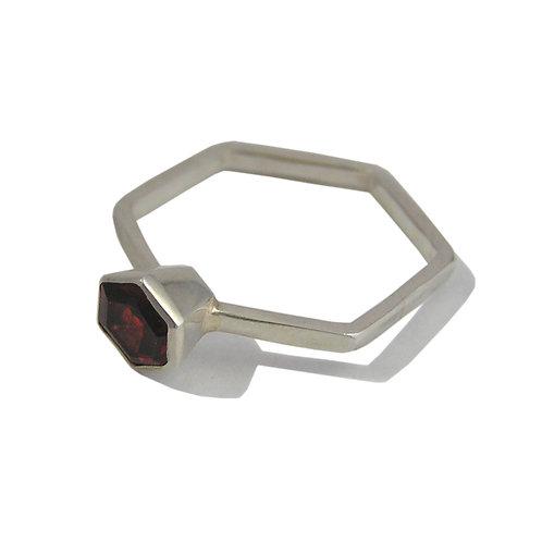 Slide Along Hexagon Garnet Ring