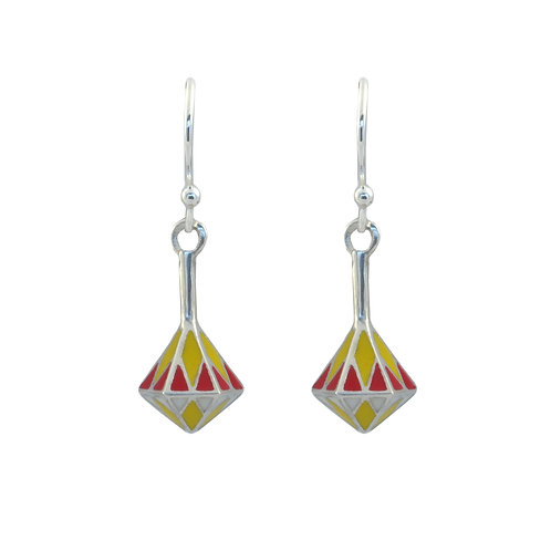 Small enamel spinning top earrings