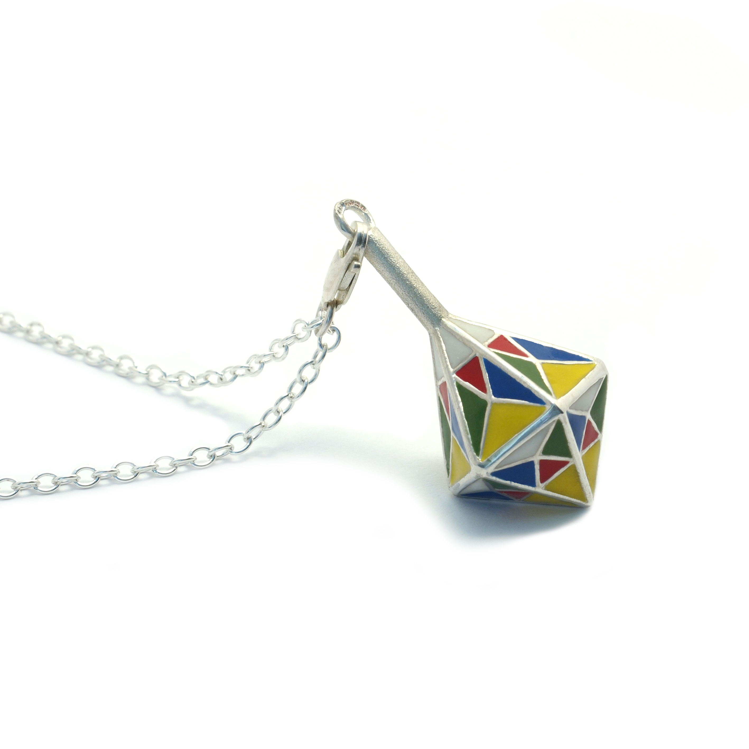 Enamelled spinning top pendant