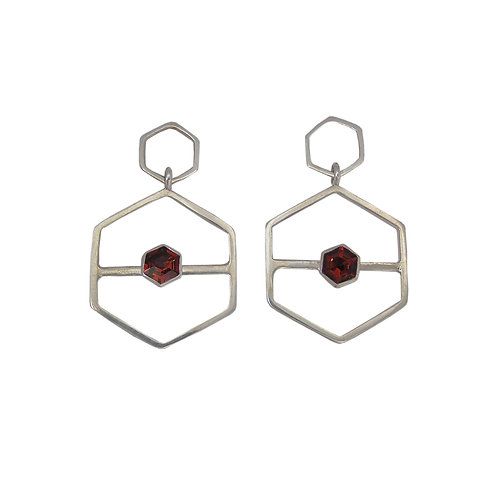 Slide Along Hexagon Garnet Earrings