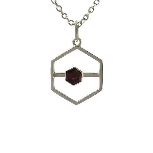 Slide Along Hexagon Garnet Pendant