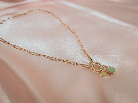 Gold Lock Heart Necklace