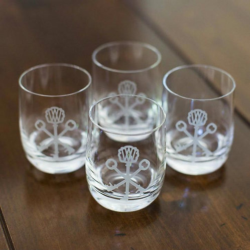 Pappy Key-etched Crystal Rock Glasses