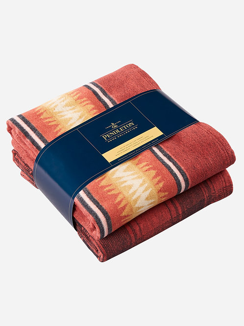 Pendleton Thunder Cotton Blanket Throw Set - Red