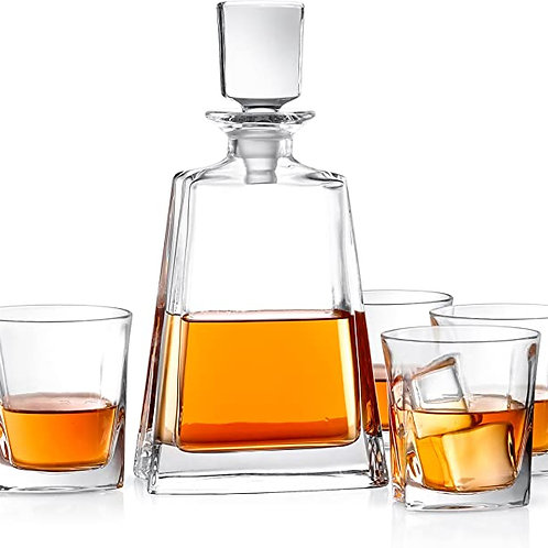 JoyJolt Luna Crystal Whiskey Decanter Set