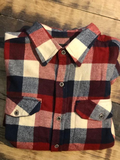 Flyshacker Heavyweight Flannel - Red/Navy/White