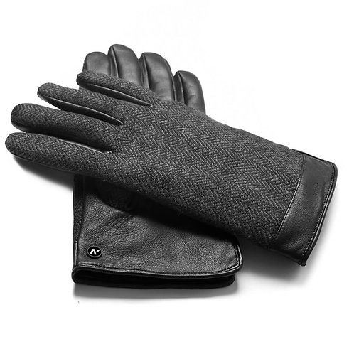 Napo Gent Touchscreen Natural Leather Compatible Gloves - Black/Grey