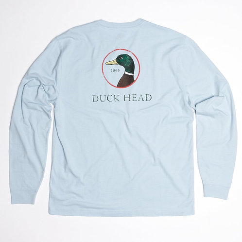 Duck Head Long Sleeve Logo Light Blue