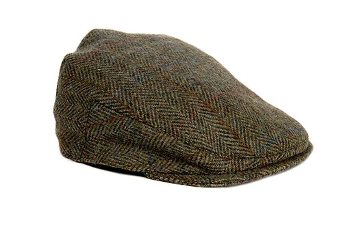Bronte Moon Harris Tweed Flat Cap - Moss Green