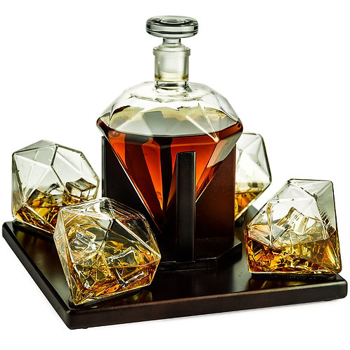 The Wine Savant Diamond Decantor Glass Set
