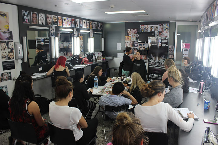 Students in class, learning Bridal Makeup
