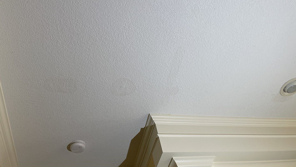 Water stains on the interior indicate a roof leak
