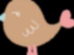 Joli dessin d'un petit oiseau marron avec un bec bleu et un petit coeur rose au bout de sa queue