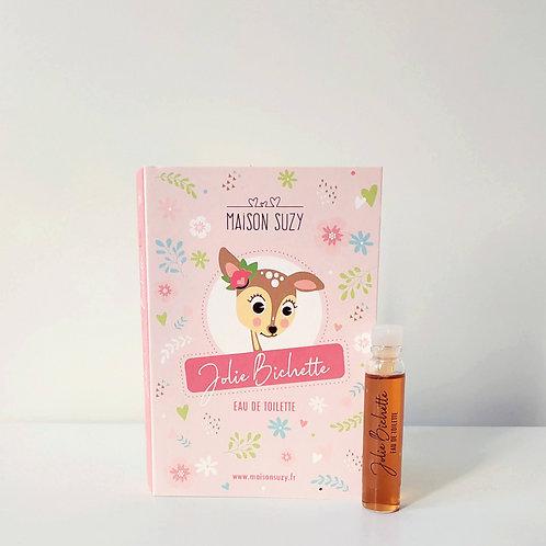 Flacon de l'échantillon de parfum enfant fille Jolie Bichette, accompagné de sa cartonnette avec dessin de petite biche.
