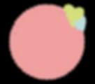 Rond de couleur rose avec un coeur vert et un petit coeur bleu sur le côté droit