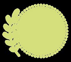 Rond de couleur vert-jaune avec un dessin de feuille s