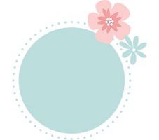 Rond d couleur bleu ciel avec un dessin de fleur rose et une fleur bleue sur le côté droit