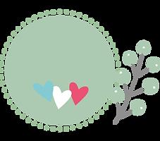 Rond de couleur verte avec un dessin de feuille verte sur le côté droit, et trois coeurs bleu blanc rouge à l'intérieur