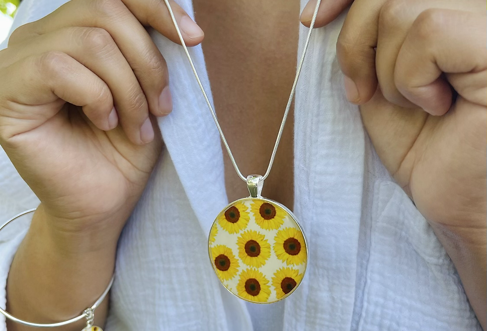 Sunflower Field Large Medallion Necklace