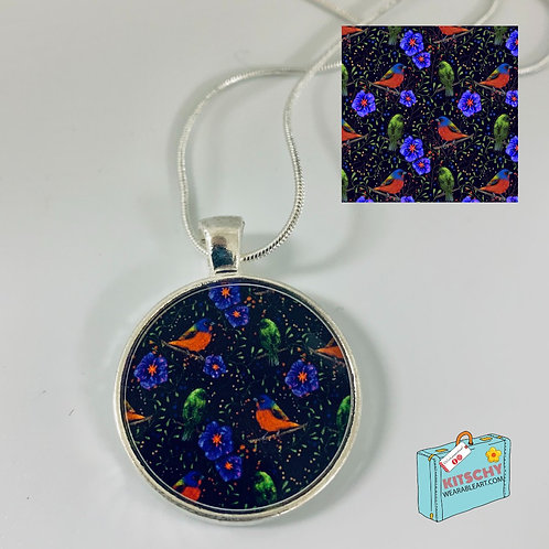 """""""The Painted Bunting and his lady"""" Necklace by Ashley Satanosky"""