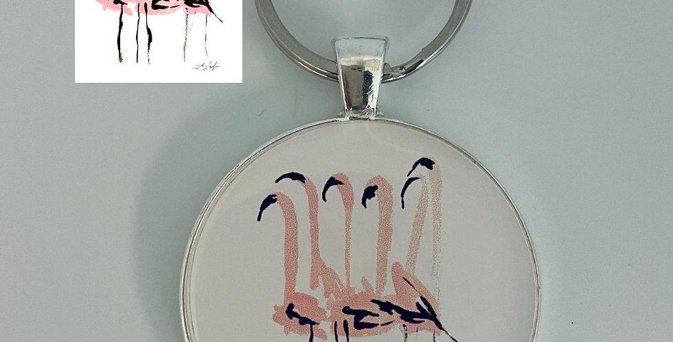 Flamingos Keychainby Lauren DePalo Design
