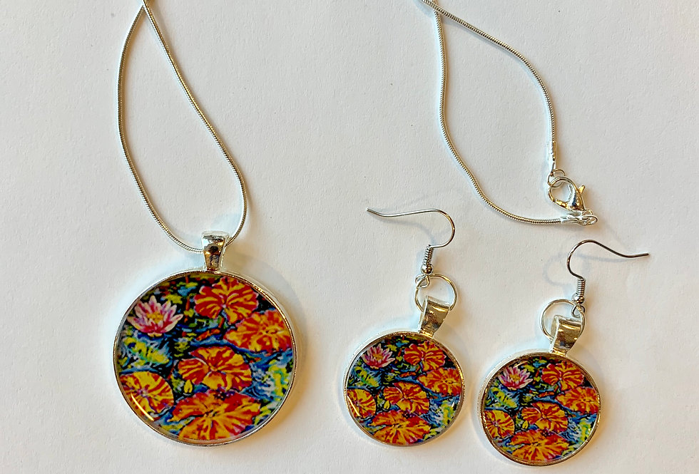 Lilies Dance with Koi Set: Sally C. Evans Collection