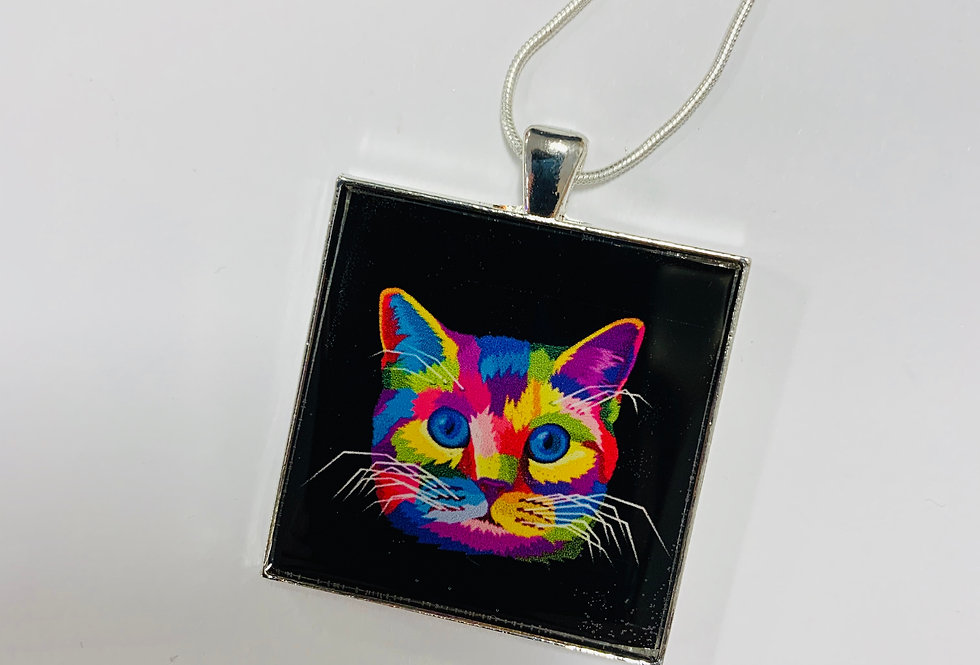 Rainbow Cat Necklace by Kitschy
